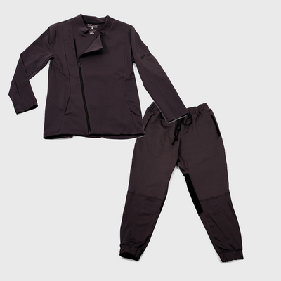 carbon colored womens chef coat and pants