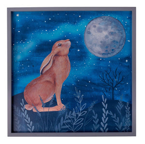 Moon Gazing Hare Wooden Picture