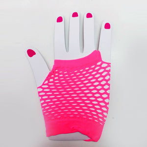 Fluro Pink Fishnet  Gloves Short