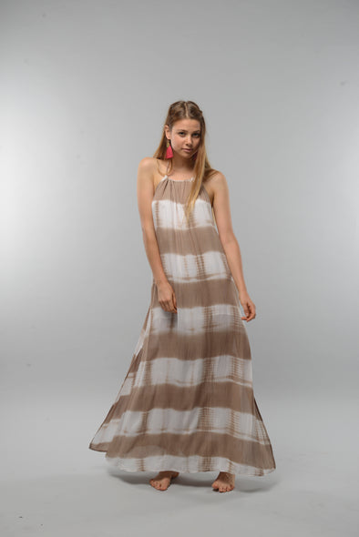 Amber Tie Dye Maxi Dress in Tan