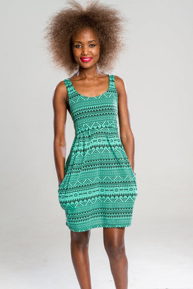Aztec Dress with Pockets in Black and Green