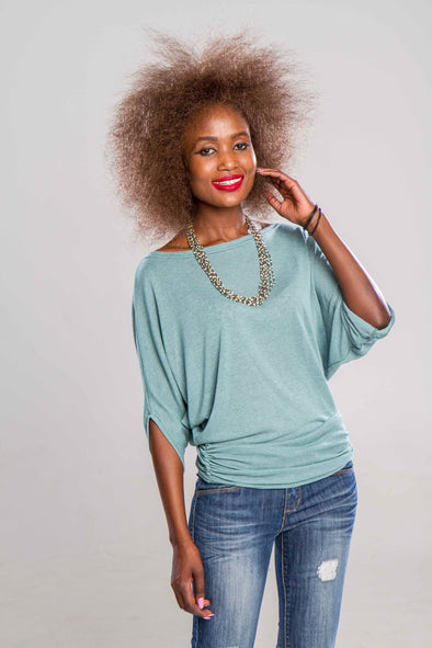 Batwing Top in Aqua