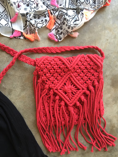 Boho Macrame Sling Purse in Red
