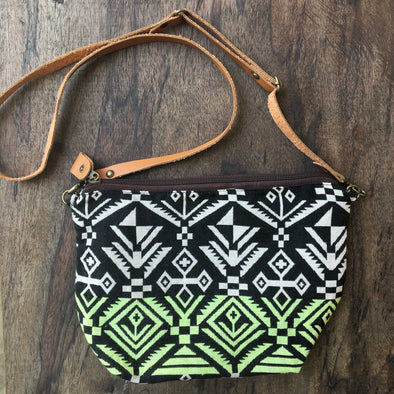 Boho Sling Bag in Navajo Green White
