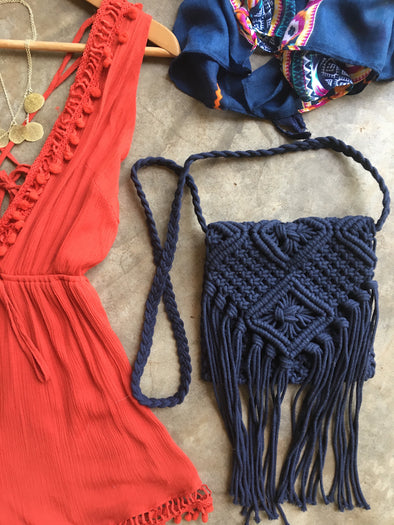 Boho Macrame Sling Purse in Navy