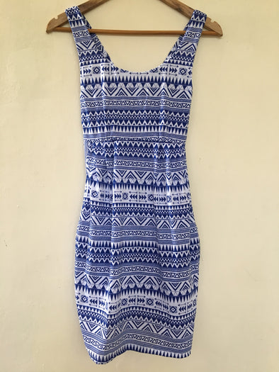 Aztec Dress with Pockets in Blue and White