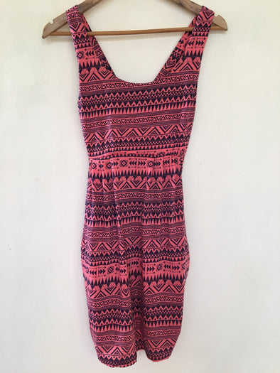 Aztec Dress with Pockets in Pink and Blue