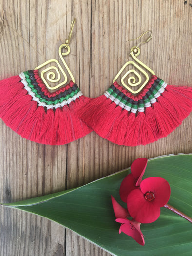 Mika Fan Tassel Earrings