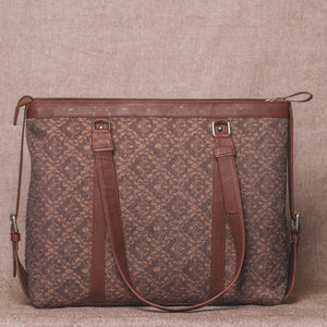 Brown Floral Motif Women's Office Bag