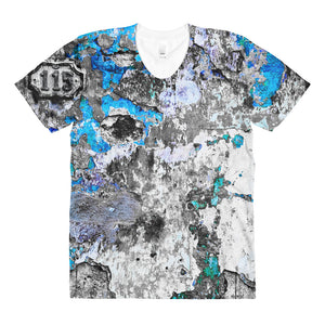 Sublimation women's crew neck t-shirt. Havana wall (Just Blue)