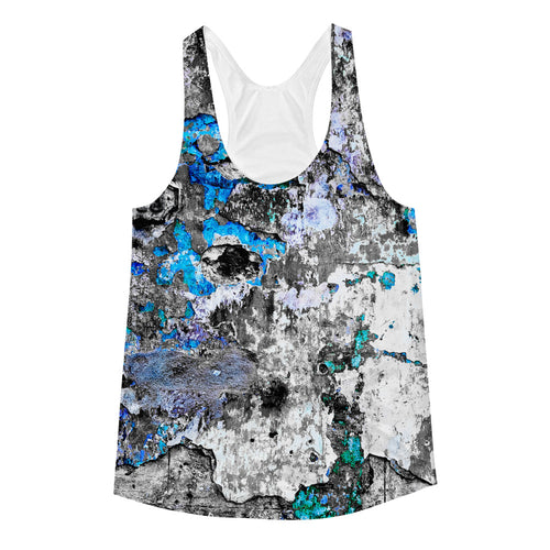 Women's Racerback Tank. Havana wall (just blue)