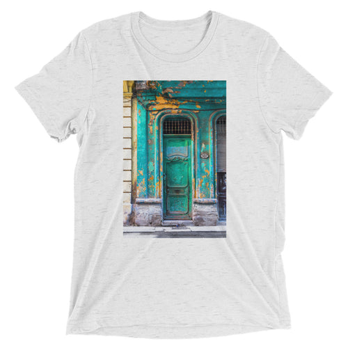 Turquoise door, Havana.  Short sleeve t-shirt