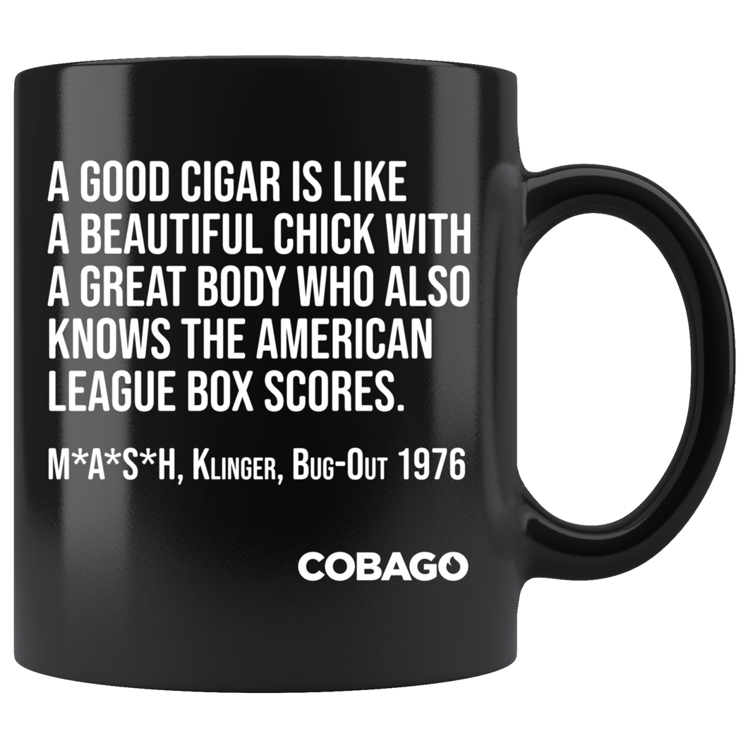 Black Mug. Cigar Quotes. BOX SCORES