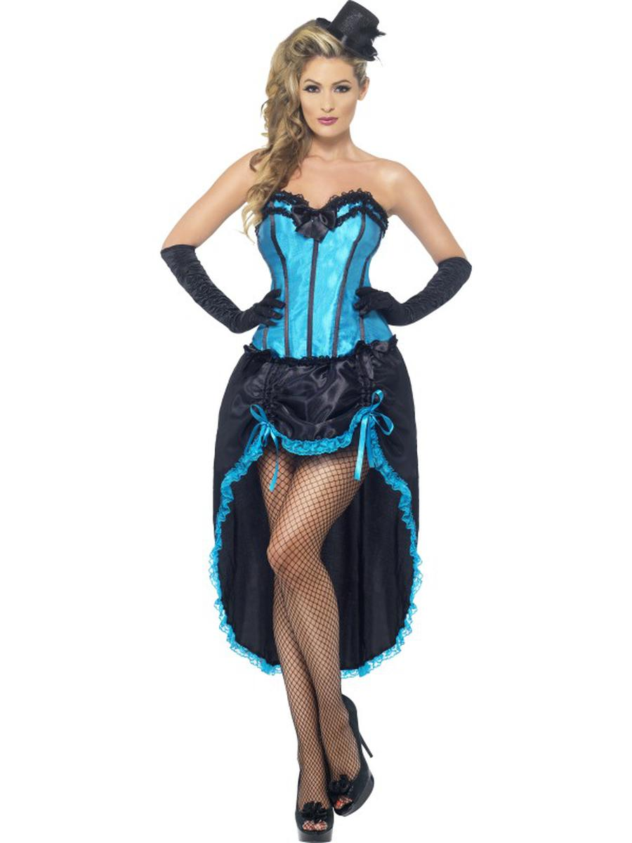 2-PC-Burlesque-Madam-Dancer-Blue-Corset-Top-&-High-Low-Skirt-Party-Costume