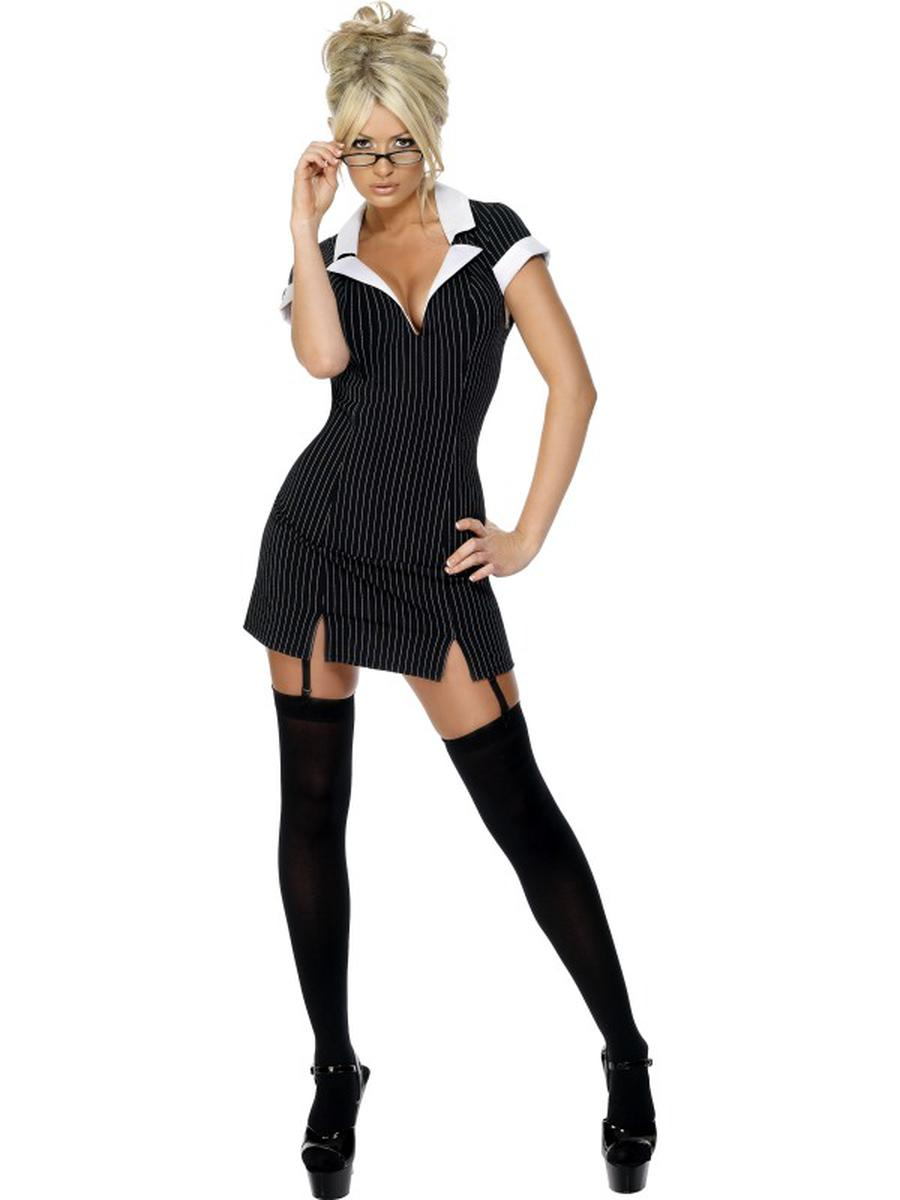 2-PC-Women's-Secretary-Assistant-Librarian-Black-Dress-w/-Glasses-Party-Costume