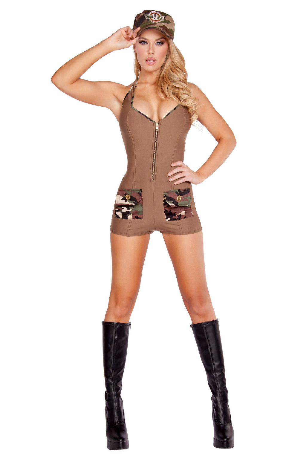 2-Piece-Army-Babe-Tan-Romper-&-Hat-Party-Costume-