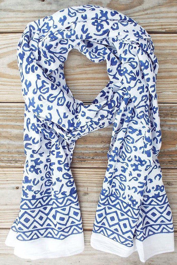 Abstract Blue + White Scarf