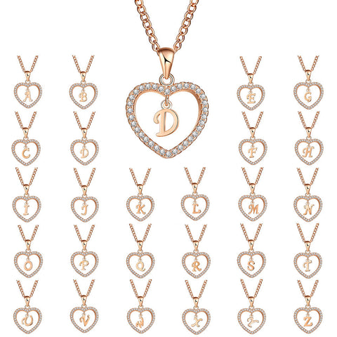 Image of Austrian Crystal Heart Initial Necklace