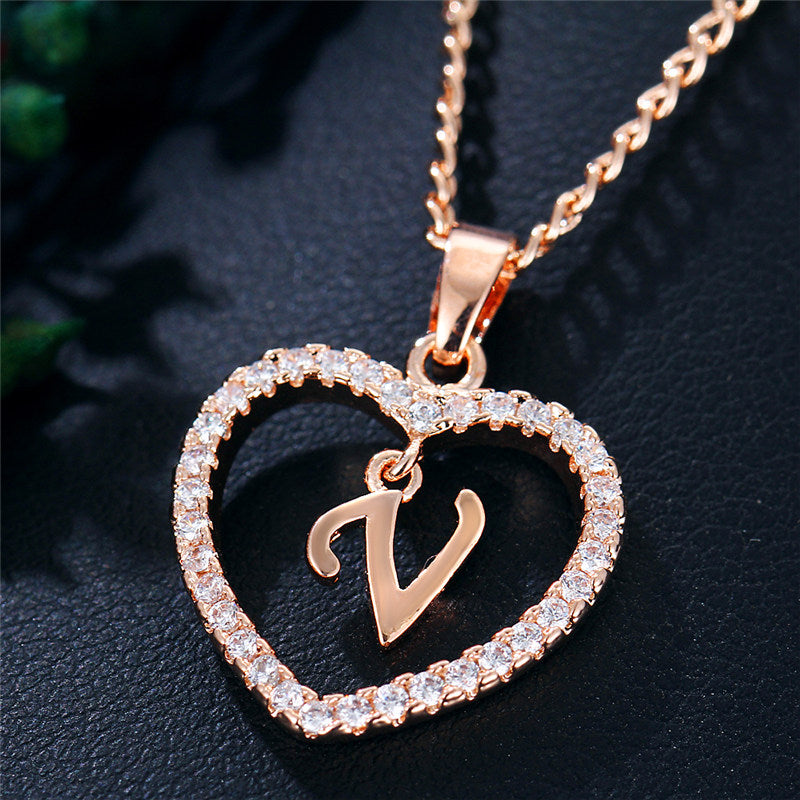 Austrian Crystal Heart Initial Necklace