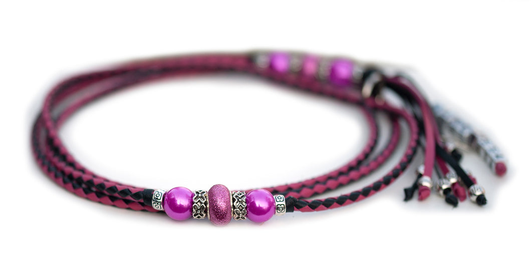 Kangaroo leather show lead in hot pink & black