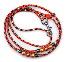 Kangaroo leather show lead in orange, black & silver