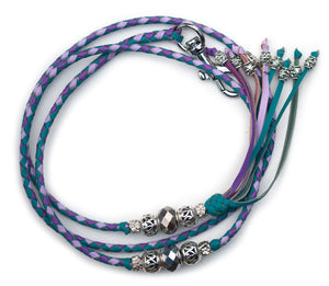 Kangaroo leather show lead in soft turquoise, lavender & moroccan purple