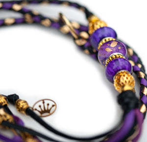 Kangaroo leather show lead in black, moroccan purple & gold - Emoticon