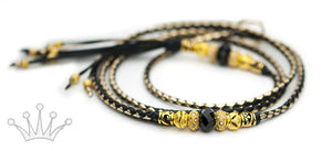 Kangaroo leather show lead in gold & black - Emoticon Kangaroo Leather Show Leads