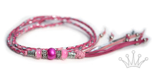 Kangaroo leather show lead in soft pink, hot pink & silver - Emoticon Kangaroo Leather Show Leads