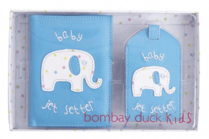 Baby Passport Cover and Luggage Tag Gift Set - Blue Elephant - Halia Rose