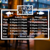 Fish & Chip Shop Personalised Opening Times/Hours Window Wall Sign