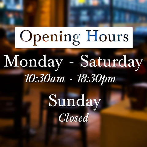 Simple Bespoke Personalised Retail Shop Opening Times Vinyl Decal Window Sticker Sign