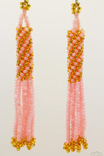 Pink & Golden Glass Beads Cylindrical Chandelier Earring