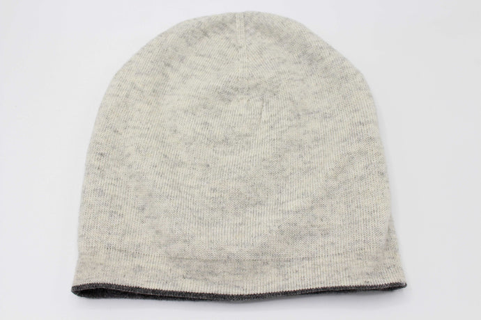Double Sided Dark Gray And White Unisex 100% Cashmere Cap