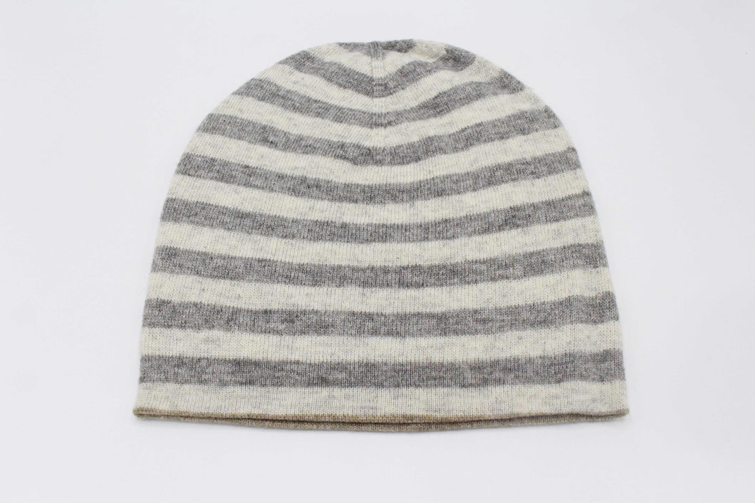 Double Sided White & Light Gray Stripes Unisex Cashmere Cap