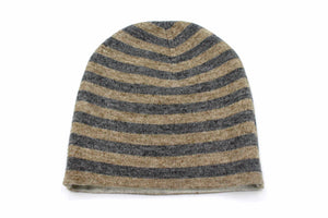 Double Sided White & Light Gray Stripes Unisex Cashmere Cap/Beanie