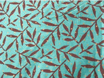 Teal Green Hand Printed Cotton Tussah Silk Sold by the Yard