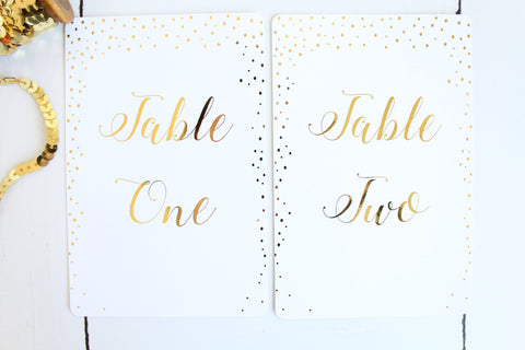 Foiled Table Numbers from the Confetti Collection by Confetti Sweethearts