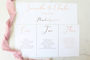 Foiled Wedding Menu 'Elegance Collection' by Confetti Sweethearts