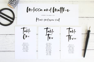 Foiled Wedding Table Plan cards and headers Modern Day Collection by Confetti Sweethearts
