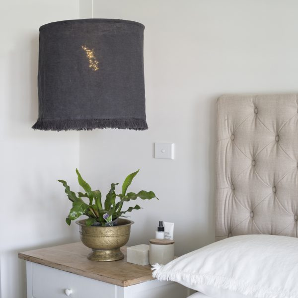 Fringed Linen Light Shade - Charcoal