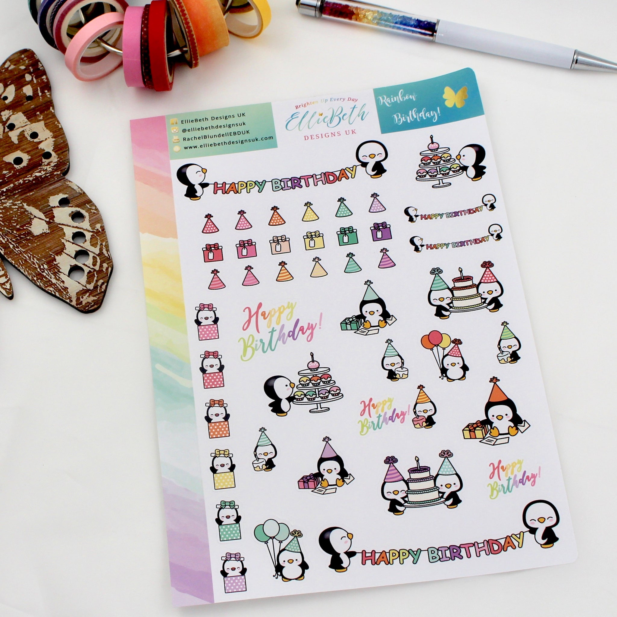 'Rainbow Birthday' - Decorative Sheet -  A5 binder ready planner stickers