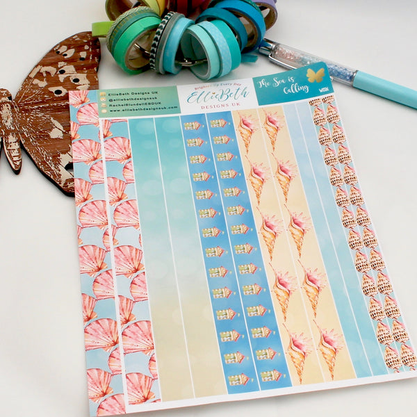 'The Sea is Calling' Washi Strips -  A5 binder ready planner stickers
