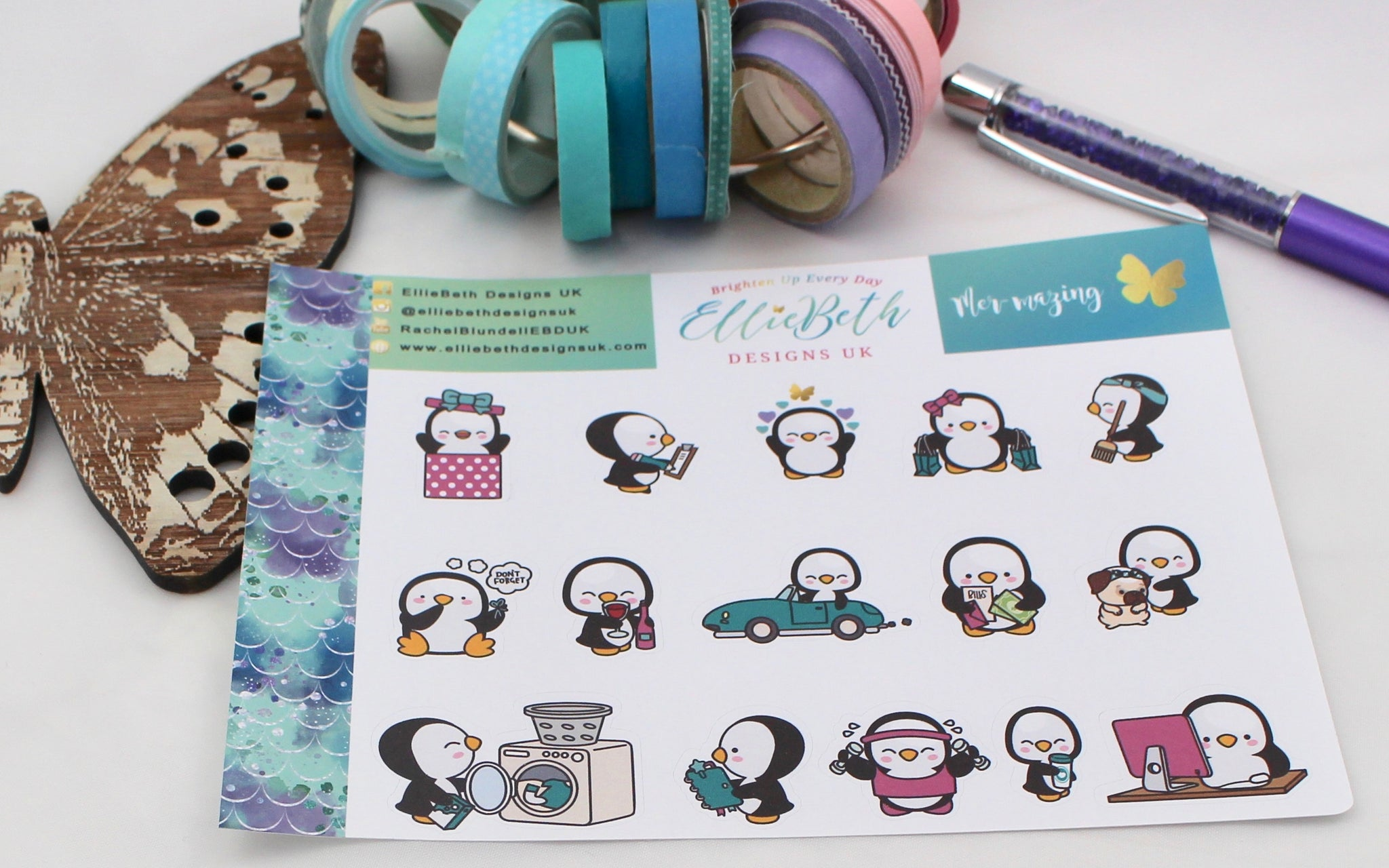 Mer-Mazing! - A Penguin For Every Occasion -  binder ready planner stickers