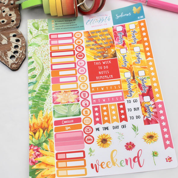 Sunbeams - A5 Core Sheet - A5 binder ready planner stickers
