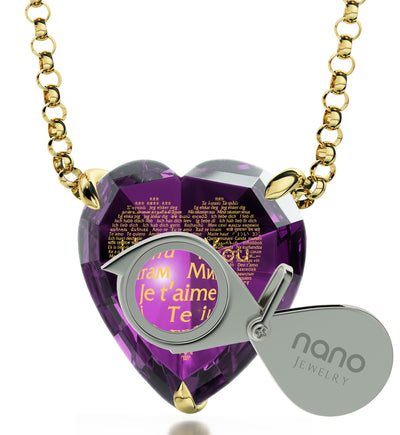 Gold Plated Heart Necklace 24k Gold Inscribed I Love You in 120 Languages - NanoStyle Jewelry