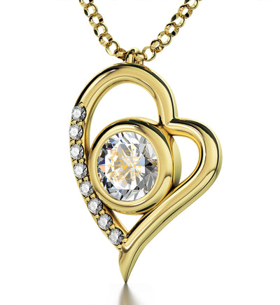 Gold Plated I Love You Necklace Heart Pendant 12 Languages 24k Gold Inscribed - NanoStyle Jewelry