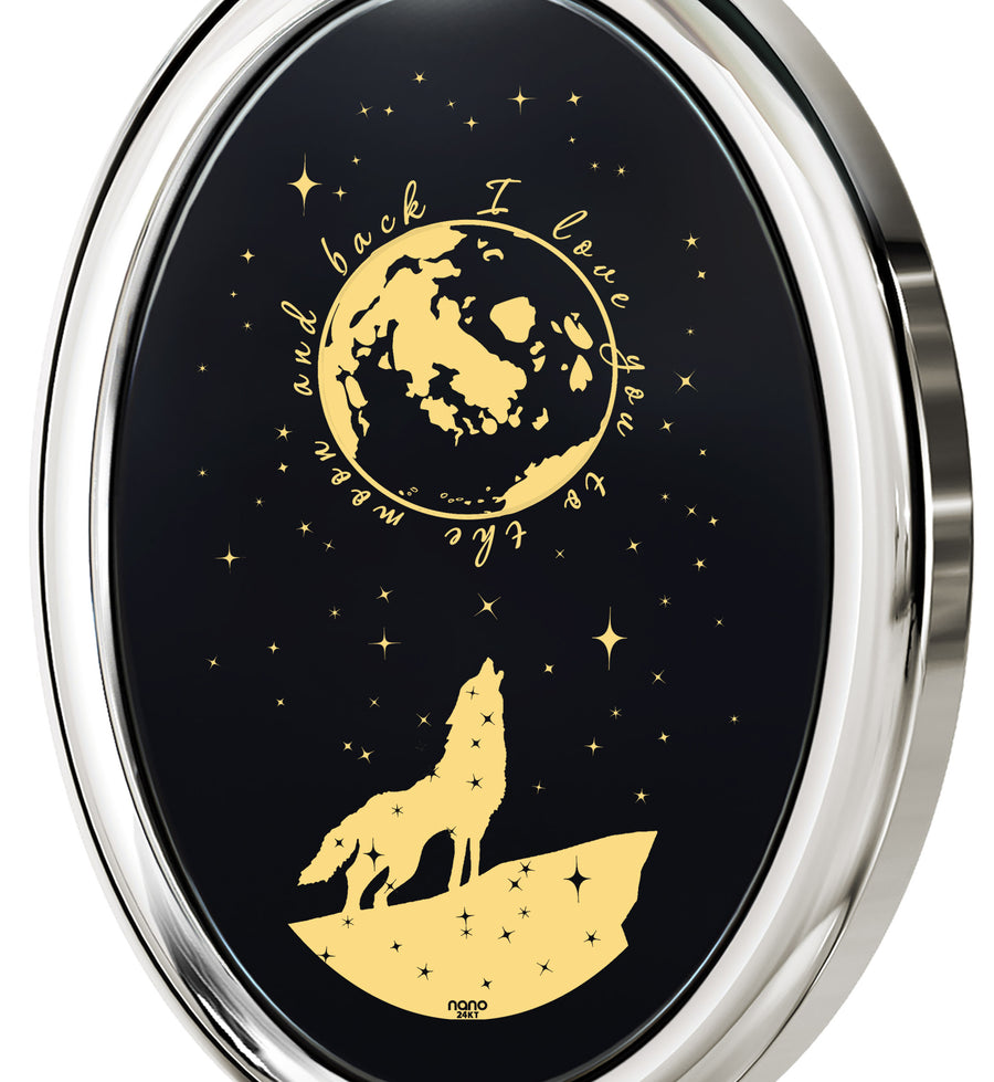 I Love You to the Moon and Back Necklace Wolf Pendant 24k Gold Inscribed on Onyx - NanoStyle Jewelry