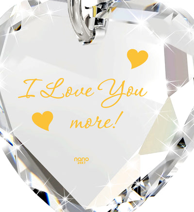 I Love You More Necklace 24k Gold Inscribed Tiny Crystal Swarovski Heart Pendant - NanoStyle Jewelry