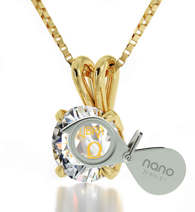Gold Plated Libra Necklace Zodiac Pendant 24k Gold Inscribed on Crystal - NanoStyle Jewelry